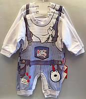 """Детский костюм человечек на мальчика """"Комбенизон"""". 62-74-80 см. Белый. Оптом."""