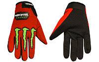 Мото перчатки , вело рукавиці, закрытые MONSTER ENERGY (р-р M-XL) (red)