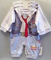 """Детский костюм человечек на мальчика """"Галстук"""". 62-74-80 см. Белый. Оптом., фото 1"""