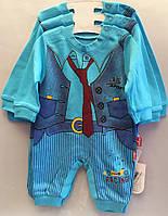 """Детский костюм человечек на мальчика """"Галстук"""". 62-74-80 см. Ярко голубой. Оптом., фото 1"""