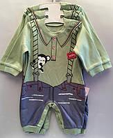 """Детский костюм человечек на мальчика """"Обязьянка"""". 62-74-80 см. Оливковый. Оптом., фото 1"""