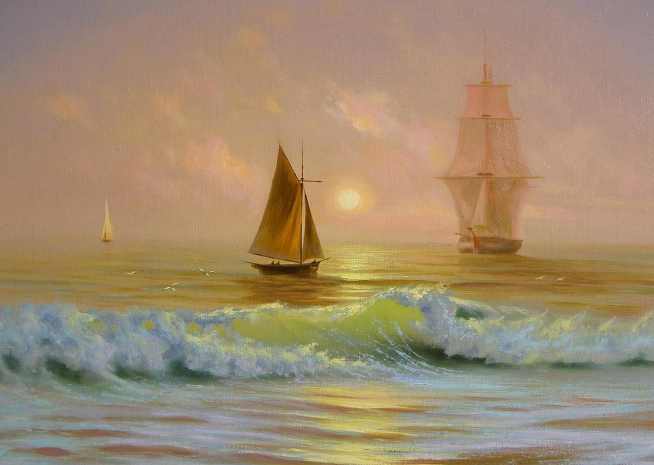"""Картина на стекле """"Корабли в океане"""""""