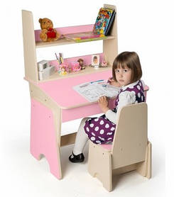 Парта с надстройкой и стульчиком Соня розовая