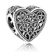 Подвеска-шарм из серебра Ажурное сердце пандора