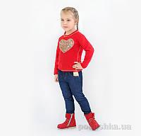 Реглан для девочки Модный карапуз 03-00566 красный 128