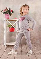 Реглан для девочки Модный карапуз 03-00566 Серый меланж 128