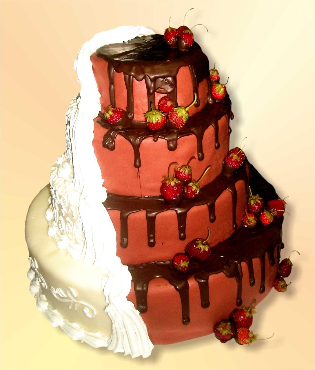 """Свадебный торт на заказ """"Белое и Черное"""""""