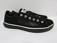 Мужские кеды Athletic без шнурков (9817) черные код 0153А