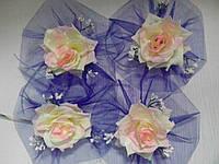 Цветы на ручки свадебного авто (чайная роза+синий фатин) 4 шт.