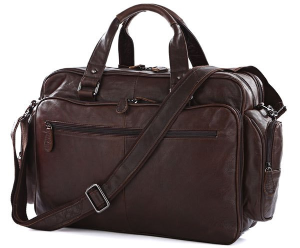 """Кожаная сумка для ноутбука 15,6 """" S.J.D. 7150Q, коричневая"""