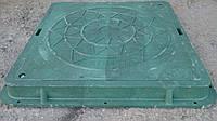 Люк садовый квадратный полимерпесчаный нагрузка 0,8 т. в зеленом цвете