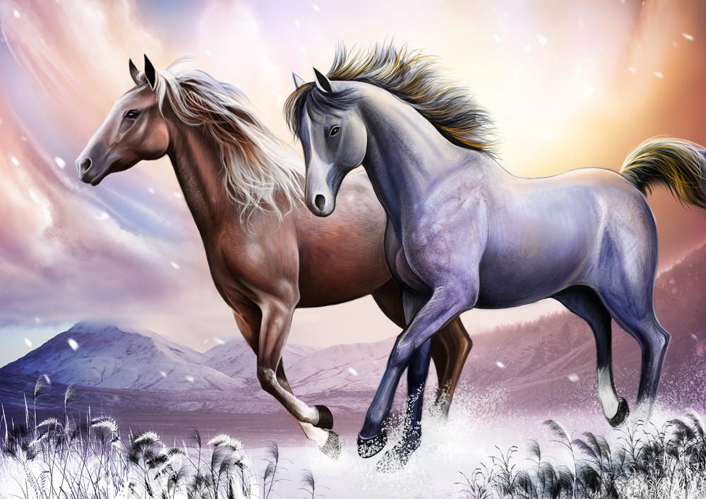 Вышивка зимняя лошадь