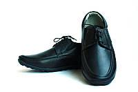 Черные кожаные мужские туфли на спортивной подошве
