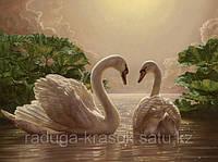 "KH 301  ""Любовь. Два лебедя"" Роспись по номерам на холсте 40х50см"