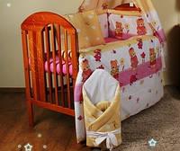 """Набор детской постели в кроватку из 8-ед-""""Мишки с лейками розовый"""".Балдахин  вуаль цветная"""