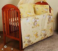 Постель в детскую кроватку из 8-ед.Балдахин  вуаль цветная. Одеяло 105*150 см