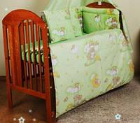 """Постельное бельё для детей из 8-ед-""""Мишки на луне зеленые"""".Балдахин  вуаль цветная"""