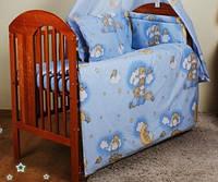 """Постель детская в кроватку из 8-ед-""""Мишки на лестнице голубые"""".Балдахин  вуаль цветная"""