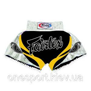 Шорты для тайского бокса FAIRTEX M чёрный + сертификат на 50 грн в подарок (код 179-191233)