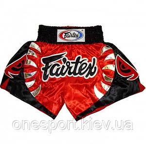 Шорты для тайского бокса FAIRTEX S красный + сертификат на 50 грн в подарок (код 179-191235)