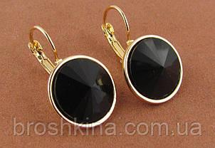 Серьги под золото с черными кристаллами d 1,5 см