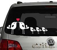 Виниловая наклейка на авто - Семья птичек, фото 1