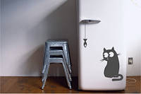 Виниловая наклейка на холодильник - кот и мышь, фото 1
