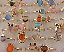 Колечки подростковые металл с камнями и стразами 36 шт/уп, фото 2