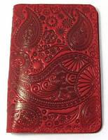 Кожаное портмоне для документов и паспорта (2 в 1) Turtle, Восточный узор, красный