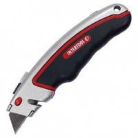 Нож с выдвижным трапециевидным лезвием, металлический корпус, прорезиненный, INTERTOOL HT-0516