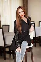 Трендовое кашемировое женское пальто на запах под пояс с широким отложным воротником со вставками экокожи