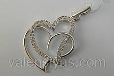 Кулон серебряный два сердца