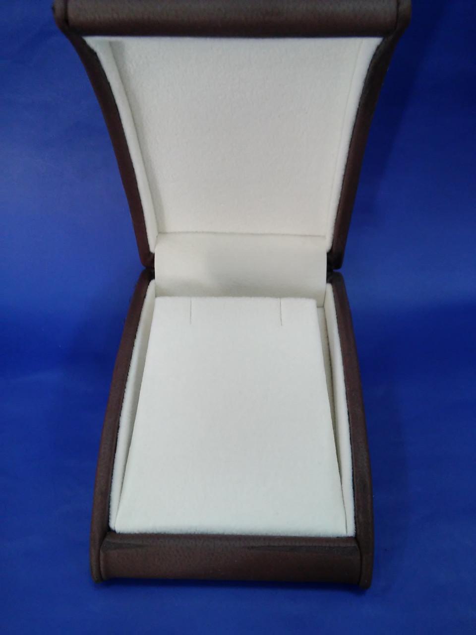 Футляр элитный для серег, подвески кожзам коричневый ЕС-04