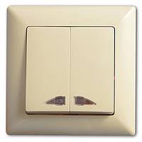 Выключатель двухклавишный с подсветкой (индикацией)Кремовый Gunsan Visage