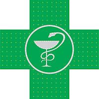 Светодиодный аптечный крест 700х700 со змеей двухсторонний, фото 1