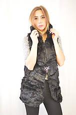 Красивая дешевая меховая женская жилетка с капюшоном., фото 3