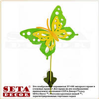 """Весенний декор """"Большая зелёная бабочка"""" на палочке для украшения помещений"""