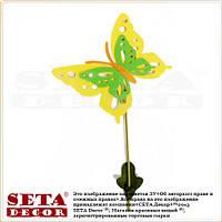"""Весенний декор """"Большая жёлтая бабочка"""" на палочке для украшения помещений"""