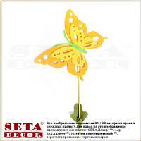 """Весенний декор """"Большая оранжевая бабочка"""" на палочке для украшения помещений"""