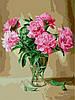Раскраска по номерам Пионы в стеклянной вазе худ Жалдак