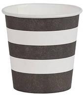Бумажные стаканчики черно-белые, черно-желтые 110 мл