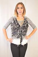 Изумительно красивая недорогая меховая женская жилетка. черный с белым, 48