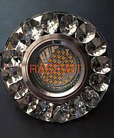 Светильник зеркальный с камнями круглый под MR16