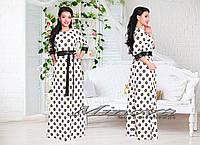 Длинное платье цветочный принт с декором кожей