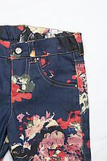 Детские джинсы с цветочным принтом р.104-128см, фото 3
