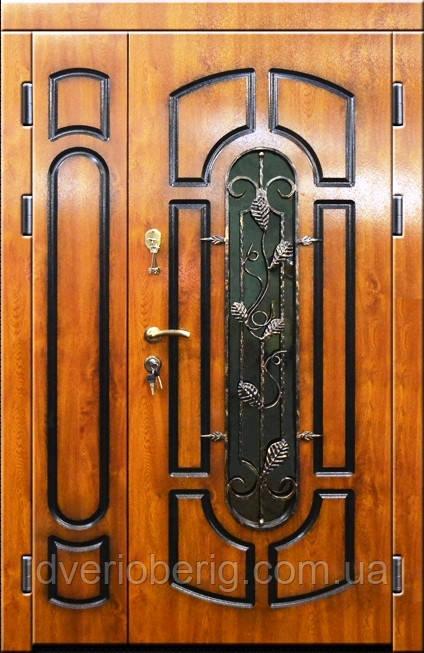Входная дверь двух створчатая модель П3-311 vinorit-90 ПАТИНА КОВКА