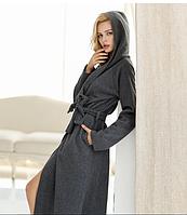 Длинный тёплый халат с капюшоном