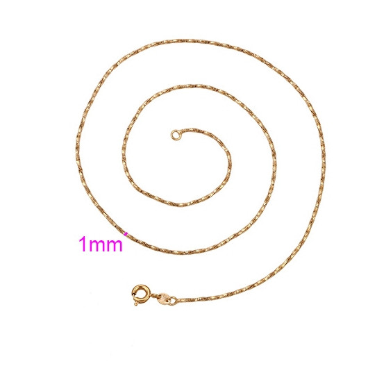 Цепочка Спиральная позолоченная, 1мм, р.45