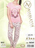 Пижама женская со штанами - Интерлок - 86362 Нет, L, персиковый