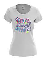 Женская футболка с модным принтом PEACE LOVE FUN